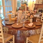 round-iron-plank-top-table-with-6-ladderback-chairs