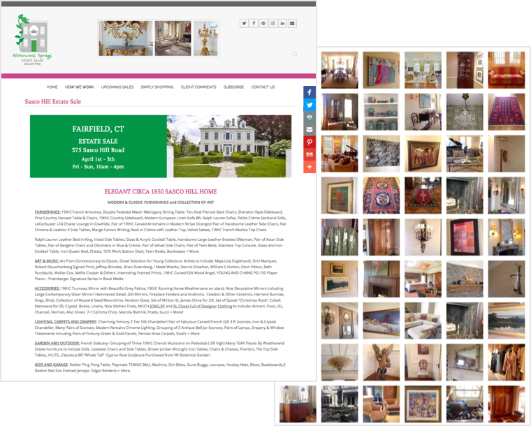 Sample Web Page For Watercress Springs Estate Sales