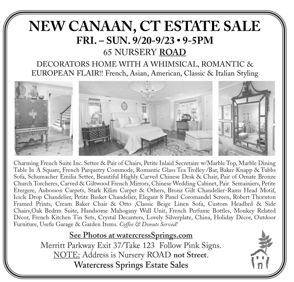 Watercress Springs Estate Sales Sample Newspaper Ad New Canaan Nursery