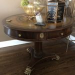 Maitland Smith Leather Top Entry Table Gilt Feet