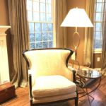 Side Chair And Chain Link Floor Lamp DRAPES ARE FOR SALE Neutral And Beautiful