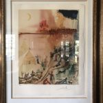 Signed Salvador Dali Lithograph Size 31 X 38 Titled Marquis Siege Of Jerusalem
