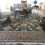 Beautiful Carpet In Muted Celedons And Cremes 19' X 13'