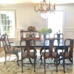 Double Pedestal Dining Table And Chairs, Crystal Chandelier