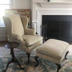Wing Chair & Ottoman In Custom Velvet Stripe