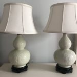 Pair Of Celedon Lamps