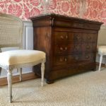 Pair Of Creme French Chairs And Antique Chest