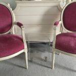Pair Of French Velvet Chairs And Country French Ethan Allen Armoire