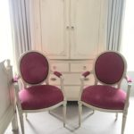 Pair Of Pink French Chairs And Country French Armiore