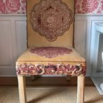 Pair Of Wonderful Library Chairs In Velvet And Applique