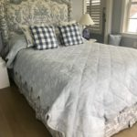 PAIR OF QUEEN SIZE CUSTOM UPHOLSTERED BEDS & BEDDING