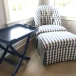 Custom Chair And Ottoman And Blue Tray Table