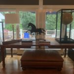 Harvest Table And Pair Of Glass Cased Globes Use On Or Off Stands