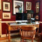 Leather Top Partners Desk In Yue Wood , Carpet 8 X 11 And Decorative Art