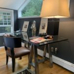 Ralph Lauren Desk Chair And Table Lamps And Glass Top Desk