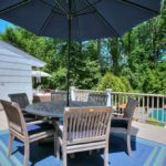 Teak 5 Ft Table And 6 Chairs With Navy Umb And Chair Cushions OUTDOOR CLASSICS BRAND