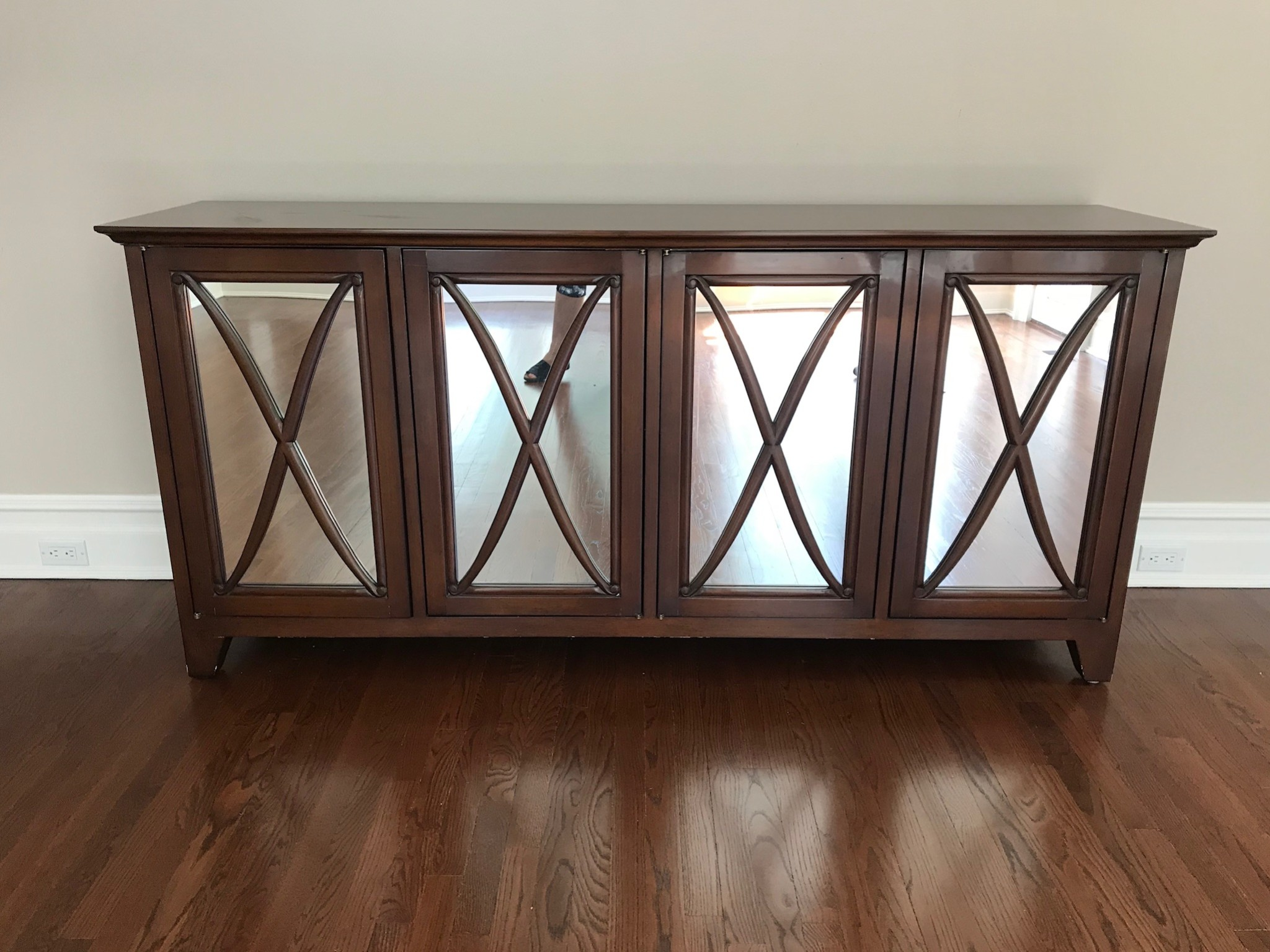 Lovely Mirrored Nancy Corzine Home Office Credenza or Consol