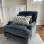 Beautiful Grey Blue Velvet Side Chair