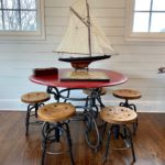 Great Industrial Wood And Iron Table And Stools!