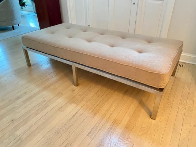 """Modern Daybed with Brushed Silver Base Neutral upholstered daybed w/ removable roll pillow . 72"""" long x 34""""w $750."""