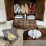 Petite Cabinet, Decoative Pillows And Linens, ,Pair Of Side Chairs In Ralph Plaid