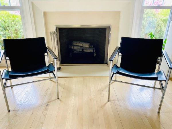 Pair Of 196O Charles Pollock Sling Lounge Chairs For Knoll Front View Of Pair
